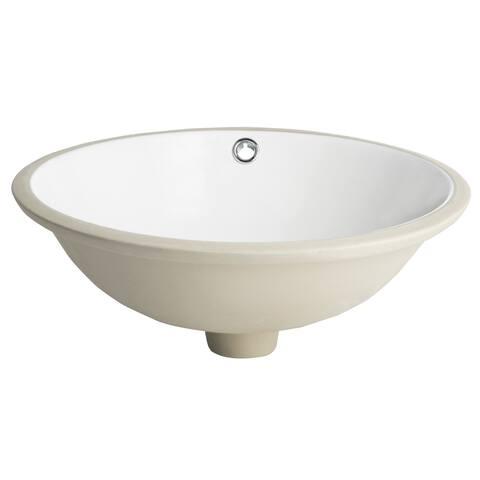 "SAFAVIEH Solea Nerida Porcelain Ceramic Vitreous Round 17 Inch White Undermount Bathroom Sink - 16.9"" x 16.9"" x 7.1"""