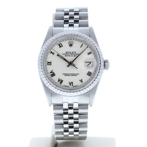 Preowned Rolex 16030 Datejust White Roman Dial Engine Bezel - White Roman Dial