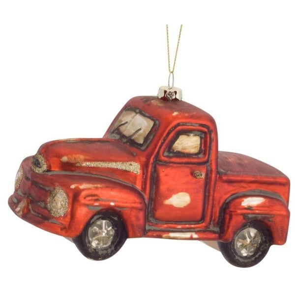 Pack of 6 Decorative Glass Red Pick-up Truck Ornament