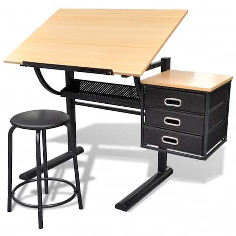 vidaXL Three Drawers Tiltable Tabletop Drawing Table with Stool