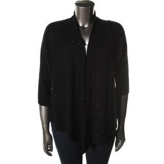 Eileen Fisher Womens Wool Beaded Cardigan Sweater - S