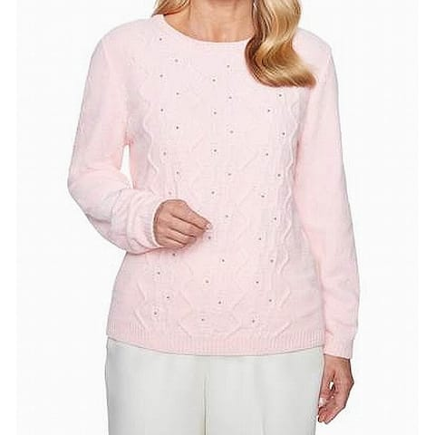 Alfred Dunner Womens Pink Size Medium M Cable-Knit Studded Swerater