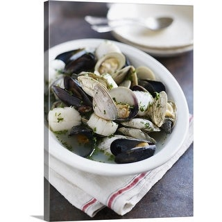 Mussels Scallops Clams In Broth Canvas Wall Art Overstock 16377172
