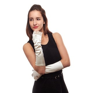 Diamonds are a Girls Best Friend Elbow Gloves with Ring Opening