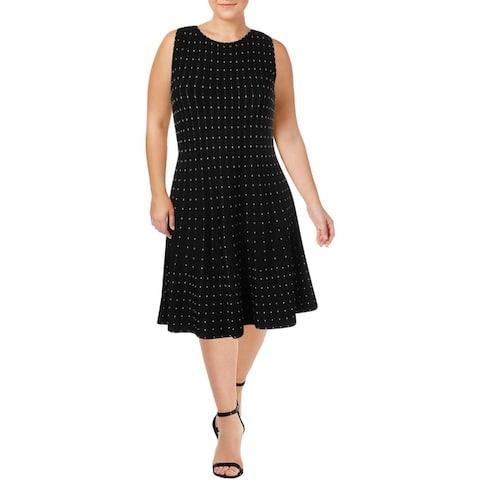 Nic + Zoe Womens Stardust Twirl Wear to Work Dress Sleeveless Embroidered - Multi