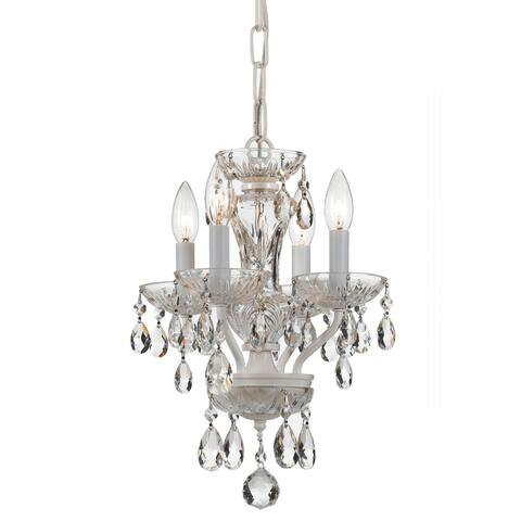 Traditional Spectra Crystal 4 Light White Mini Chandelier - 11'' W x 15'' H
