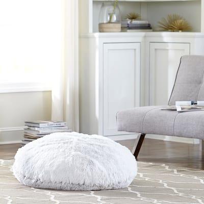 Tempo Home Polar Pouf - Oversized Faux Fur Round Floor Cushion