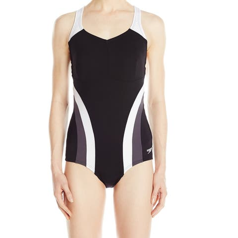 Speedo Black Womens Size 12 Chlorine-Resistant One-Piece Swimwear