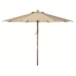 9u0027 Natural Khaki Wooden Outdoor Patio Umbrella
