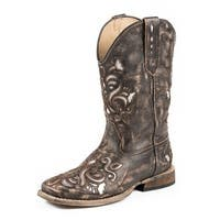Roper Western Boots Girls Kids Lazer Bling Tan