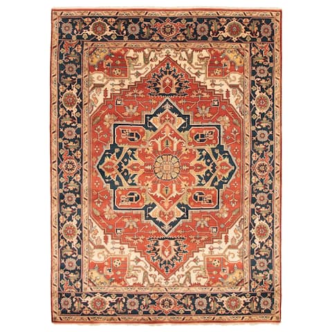 ECARPETGALLERY Hand-knotted Serapi Heritage Dark Red Wool Rug - 9'6 x 14'0