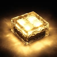 ONE Waterproof Solar Path Ice Cube Rocks LED Frosted Glass Brick Paver Garden Light Warm White
