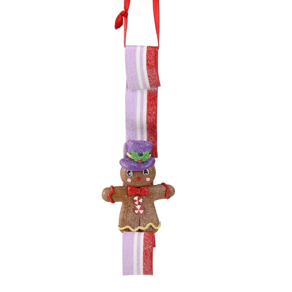 """6"""" Sugar Town Gingerbread Man on Purple and Red Ribbon Candy Christmas Ornament"""