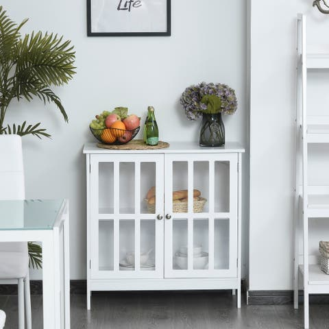 Kleankin Storage Sideboard Buffet Cabinet Credenza with Doors Dining Cupboard for Kitchen, Hallway, Living Room, White