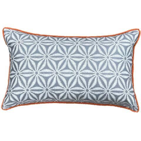 Jiti Green Embroidered Traditional Sunbrella Outdoor Pillows - 12 x 20
