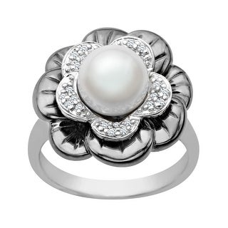 8 Mm Pearl And 1 8 Ct Diamond Flower Ring In Sterling Silver