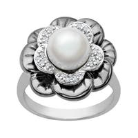 8 mm Pearl and 1/8 ct Diamond Flower Ring in Sterling Silver