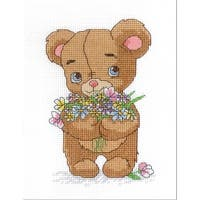 """Bear With Bouquet Counted Cross Stitch Kit-5""""X7"""" 14 Count"""