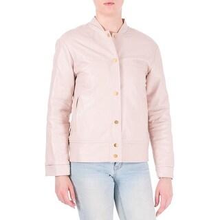 Katie Ermilio Womens Cruise Bomber Jacket Faux Leather Outerwear - 2