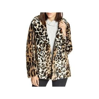 Sanctuary Womens Seeing Spots Faux Fur Coat Winter Animal Print