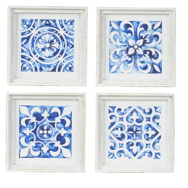 """Set of 4 White and Indigo Casual Style Square Wall Decor 12.5"""" - N/A"""