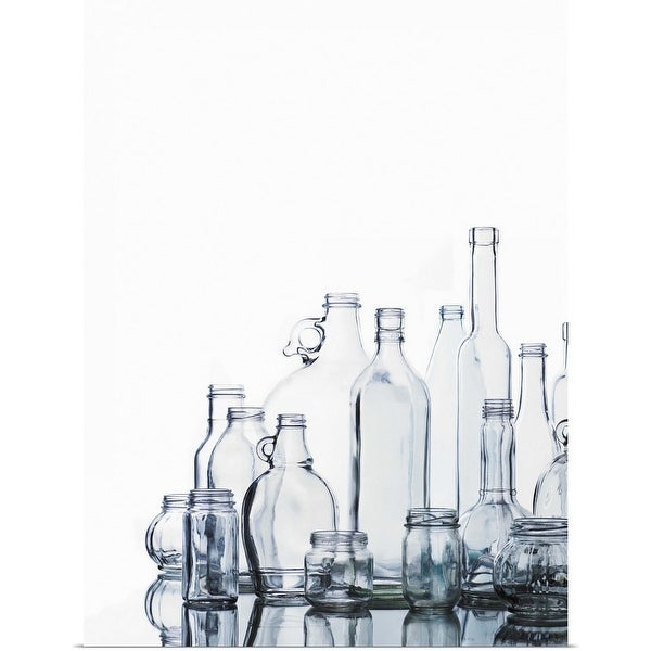 """""""Collection of various glass bottles and jars"""" Poster Print"""
