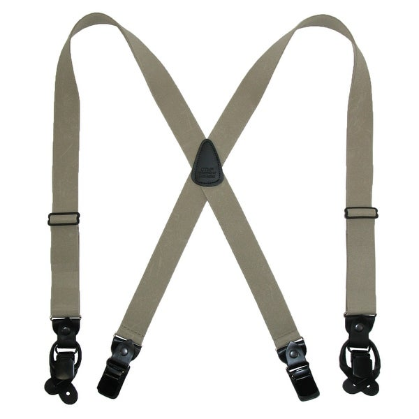 CTM® Men's Elastic Suspender with Leather Convertible Clip & Button Ends
