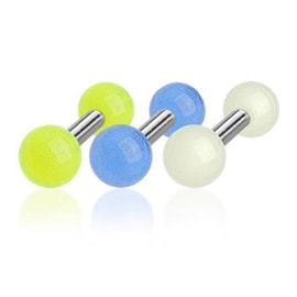 "Surgical Steel Tragus/Cartilage Barbell with Glow In The Dark 4 mm Ball - 16GA 1/4"" Long (Sold Ind.)"