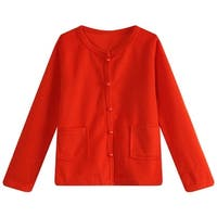 Richie House Little Girls Red Lace Pearly Buttons Top 3-6