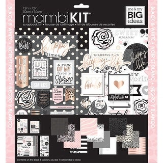 "Me & My Big Ideas Page Kit 12""X12""-Black, White & Rose"