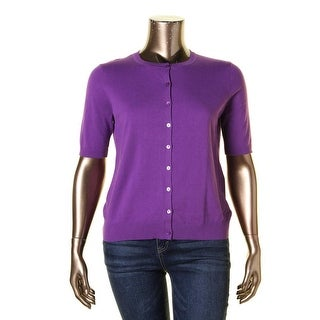August Silk Womens Cardigan Sweater Ribbed Trim Elbow Sleeves