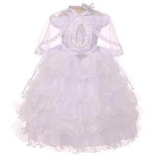 Rainkids Baby Girls White Ruffles Virgin Mary Embroidery Baptism Dress 6-12M
