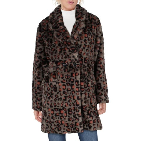 Steve Madden Womens Coat Winter Faux Fur - Grey Leopard