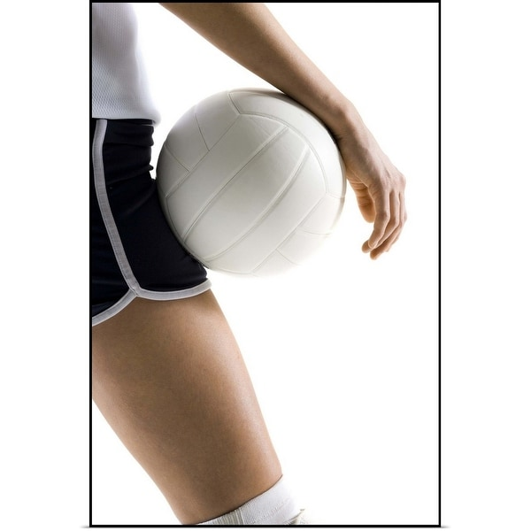 """woman playing volleyball"" Poster Print"