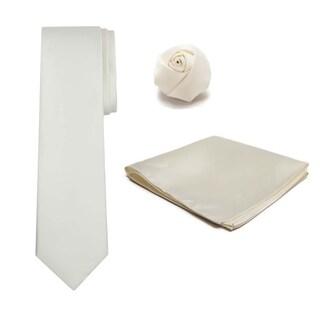 Men's XL Tie Hanky Rose Lapel Flower 3 pc Set - One size
