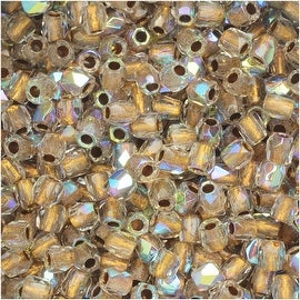 True2 Czech Fire Polished Glass, Faceted Round 2mm, 50 Pieces, Crystal AB Bronze Lined
