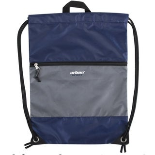 """Urban Sport Unisex Navy Gray Front Zip Pocket Drawstring Backpack 18""""x 13"""" - One size"""