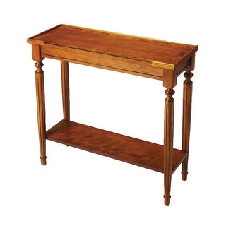 Offex Traditional Rectangular Olive Ash Burl Console Table - Medium Brown
