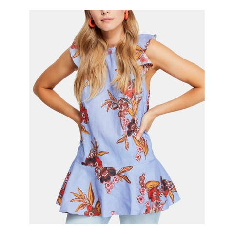 FREE PEOPLE Womens Purple Floral Cap Sleeve Tunic Top Size M