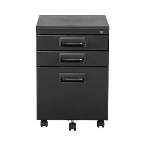 Offex 3 Drawer Metal Rolling File Cabinet with Locking Drawers - Black