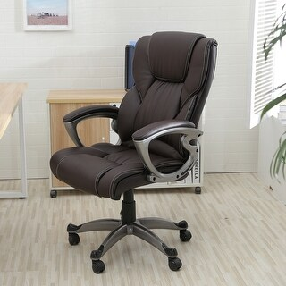 Belleze Executive Padded Lumber Support Office Chair Leather