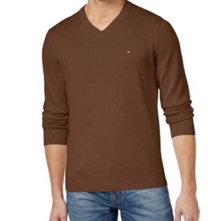 Tommy Hilfiger NEW Brown Mens Size 3XL V-Neck Solid Pullover Sweater