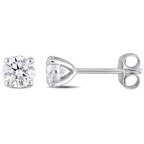 Miadora 1ct DEW Moissanite Solitaire Stud Earrings in 10k White Gold - 5 mm x 5 mm x 4.7 mm