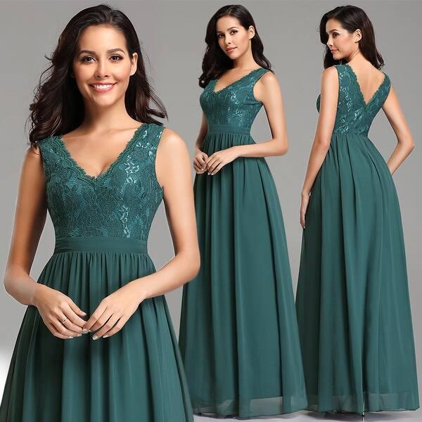 44e11df7f357d Shop Ever-Pretty Women Elegant V-neck Floral Lace Prom Bridesmaid ...