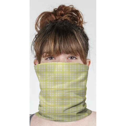 "NOHO PLAID SOFT YELLOW Neck Gaiter By Terri Ellis - 10"" x 18"""
