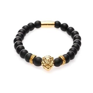 Fashionvare Unisex Matte Lion Bead Bracelet Gold