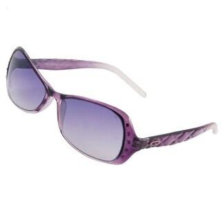 Rhinestone Inlaid Dark Purple Clear Plastic Frame Sunglasses