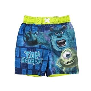 Disney Little Boys Blue Monster Inc Inspired Print Swimwear Shorts