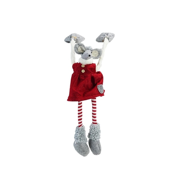 "20"" Festive Red and Gray Merry Mouse Hanging Mantle Christmas Decoration"