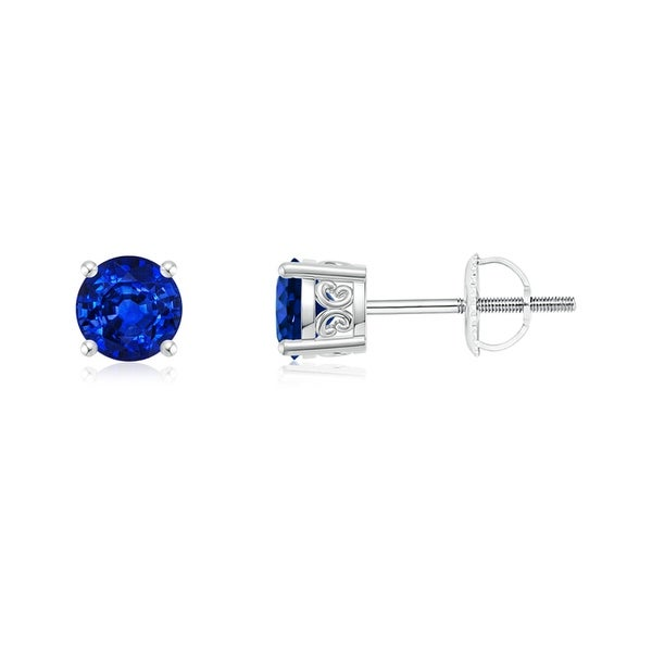 Angara Round Blue Sapphire Solitaire Earrings Yellow Gold RW28POb